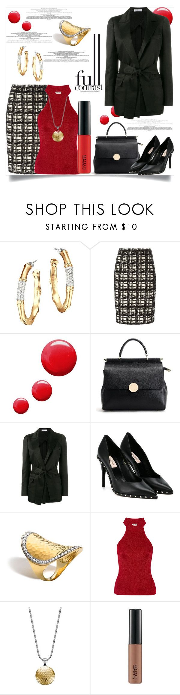 """Full Contrast"" by helenaymangual ❤ liked on Polyvore featuring John Hardy, Eggs, Topshop, Barbara Casasola, Valentino, Yves Saint Laurent and MAC Cosmetics"