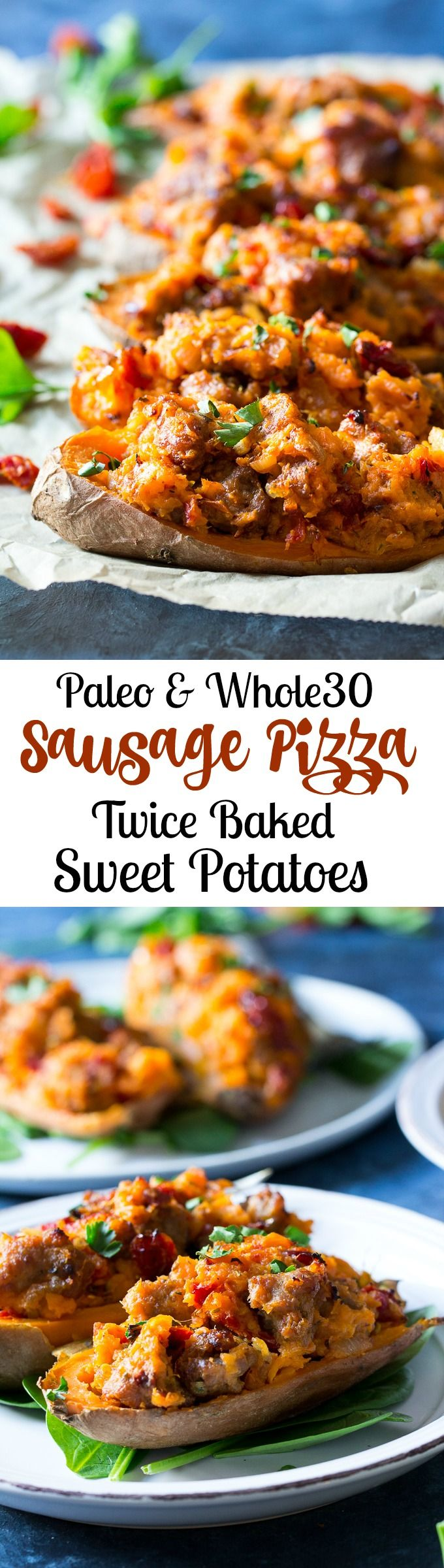 These are the ultimate Paleo and Whole30 Twice Baked Sweet Potatoes!  With an addicting filling that tastes just like sausage pizza, they're a great weeknight dinner (do the first baking ahead of time), healthy, filling, and kid friendly.