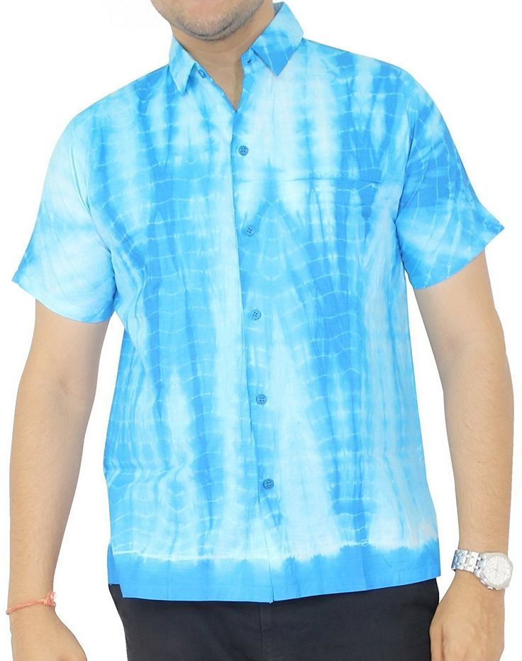 La Leela Hawaiian Shirt For Men Short Sleeve Front-Pocket Cotton Tie Dye Blue * Quickly view this special product, click the image : Gift for Guys