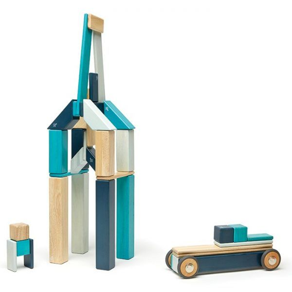 The 42-Piece Set is a large building set that allows for big and tall creations. Click wheels on and off to create any number of mobile creations.