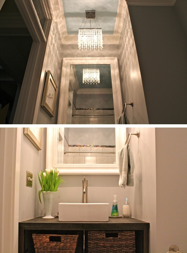 Bathroom Chandelier And White Mirror For The Home