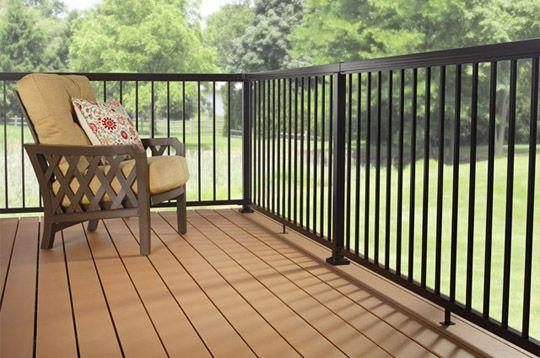 aluminum deck railing standard pickets black | Aluminum ...