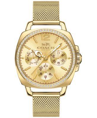 COACH WOMEN'S BOYFRIEND GOLD-TONE STAINLESS STEEL MESH BRACELET WATCH 34MM 14502490 | macys.com