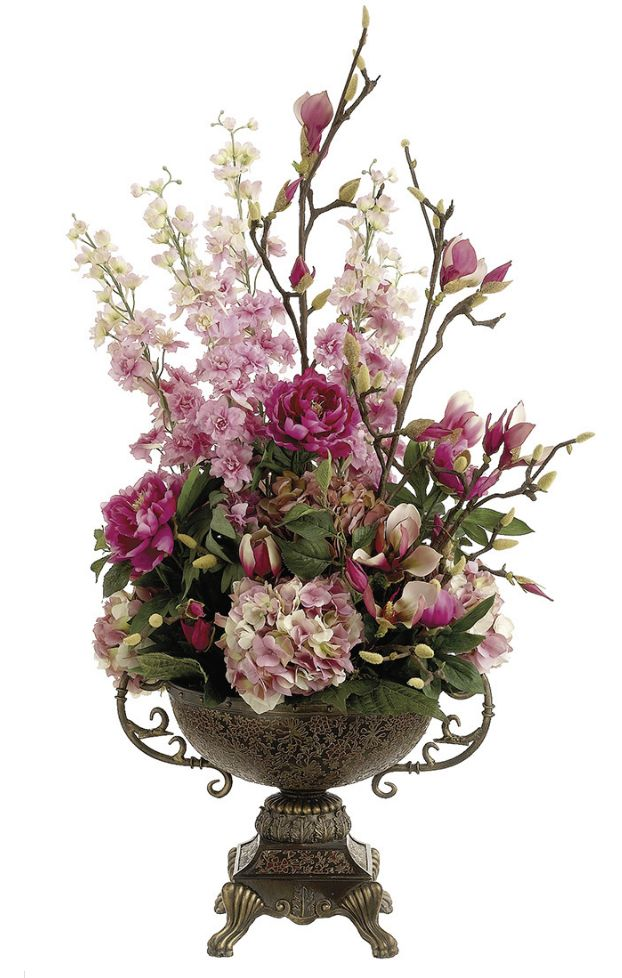 Artificial Flower Arrangements | Floral Arrangements Large Pink Hydrangea arrangement from silk-flowers ...