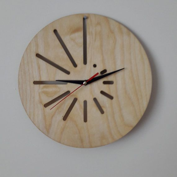 Minimal wood wall clock - Stripe Art - Home decor - Without numerals - Modern - Unique