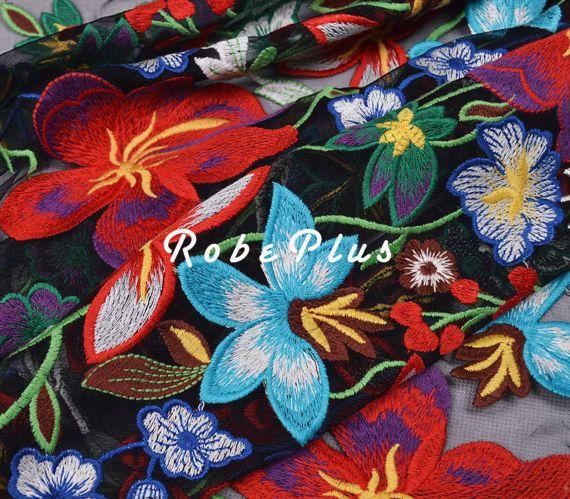 Schiffli Lace - Multi-Color Tulle Borduur Lace - bloemen geborduurde Tule Lace Fabric-Multi kleur Schiffli Lace-L272