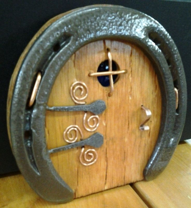 Round recycled horseshoe fairy / troll / hobbit door