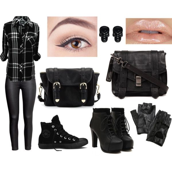 alternative style by elecktra94 on Polyvore featuring moda, Rails, H&M, Converse, Proenza Schouler, Poverty Flats, Wet Seal and Carolina Amato
