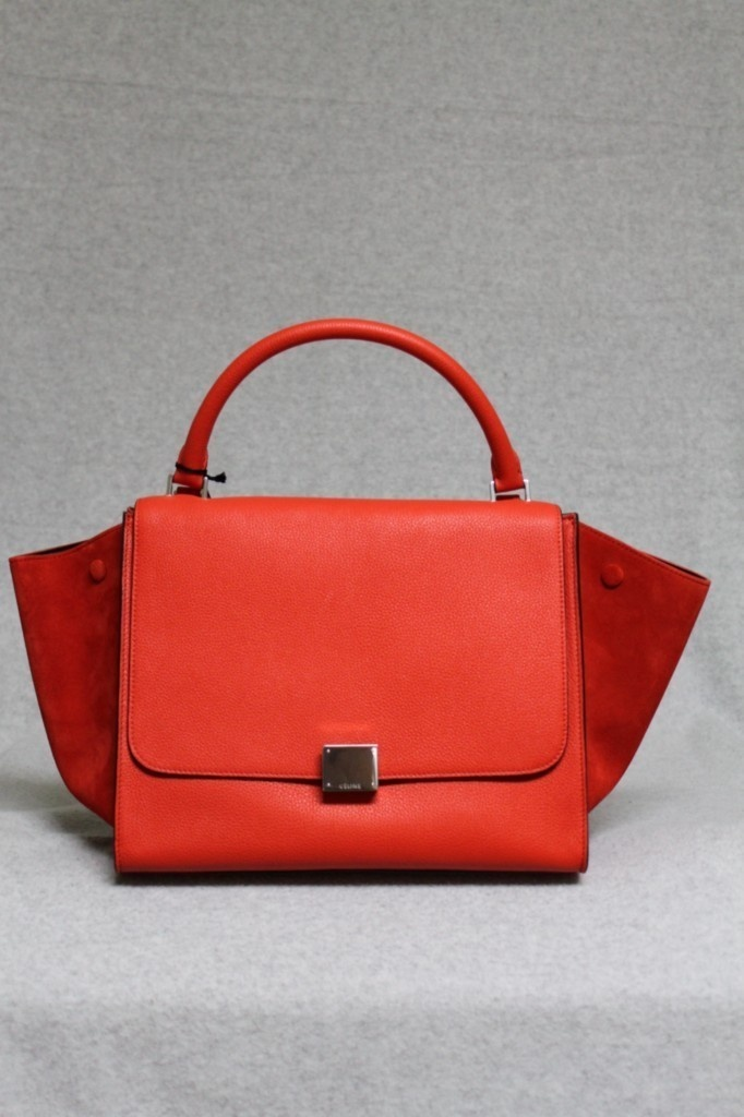 Celine Trapeze Luggage Vermillion Red Pebbled Leather \u0026amp; Suede ...