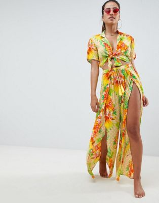 f218611114 DESIGN tropical split front beach trouser co-ord in 2019 | Resorts ...