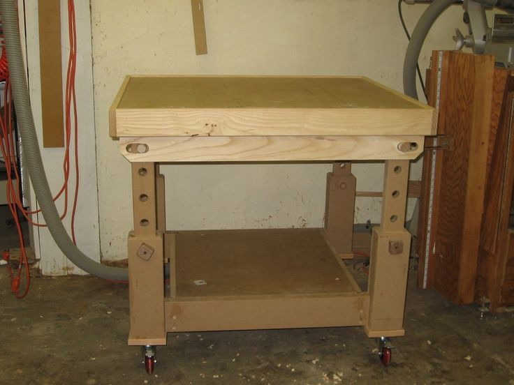 Adjustable Assembly Table With Torsion Box Top By