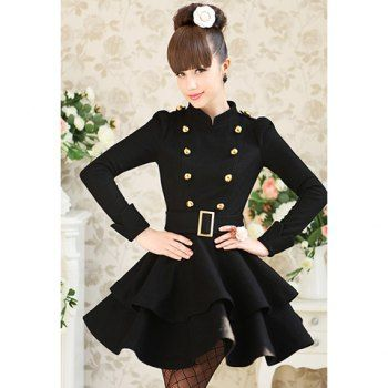 Modern Style Stand Collar Double Layered Hem Long Sleeve Worsted Women's Dress, BLACK, S in Jackets & Coats | DressLily.com