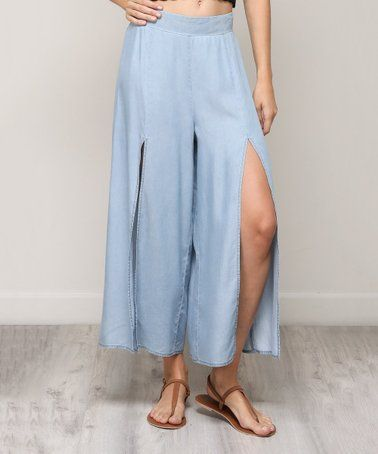 8d0a970daf This Light Denim Front-Slit Palazzo Pants - Juniors is perfect! #zulilyfinds