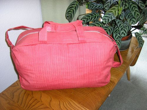 Red Stripes Cotton Overnight Bag