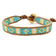 Turquoise Mix Beaded Cuff Bracelet on Beige Leather