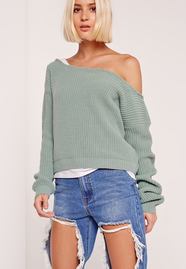 Get all the laid back vibes from this off the shoulder cropped sweater.