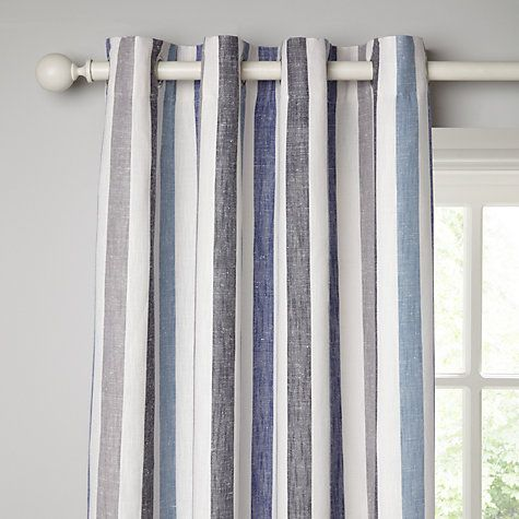 Buy John Lewis Penzance Stripe Lined Eyelet Curtains, Blue Online at johnlewis.com