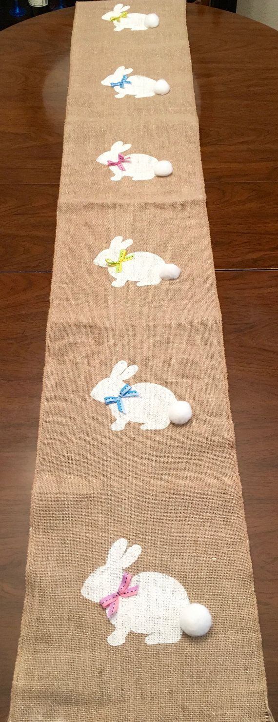 Best 25 easter table ideas on pinterest easter table settings bunny burlap table runner easter burlap table by crazycraftersfun negle Choice Image