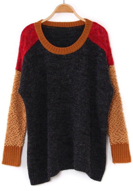 Multicolor Color Block Bat Sleeve Loose Blend Sweater
