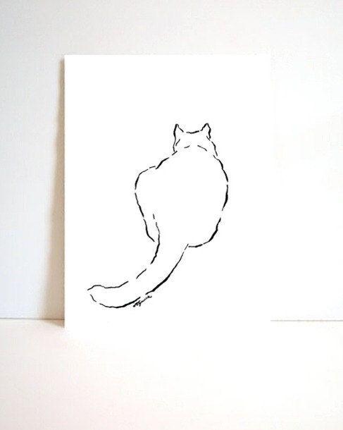 CAT I original simple minimalistic drawing in by HardLineStudio