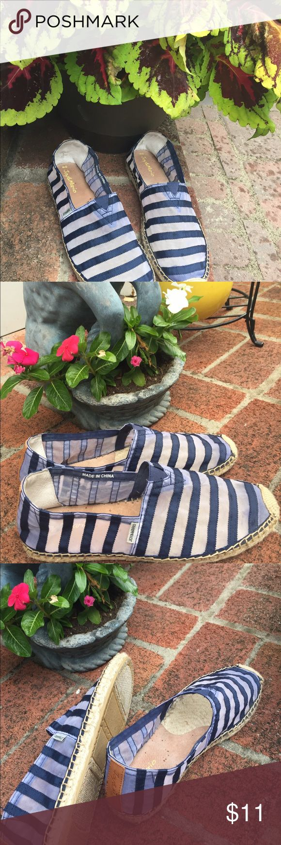 Joy & Mario Blue/Sheer Espadrilles Navy blue & sheer striped espadrilles from Joy & Mario.  Worn more often than the black ones I have listed but still in excellent condition.  Get many compliments when I wore them. Haven't even owned a year. Joy & Mario Shoes Espadrilles