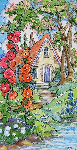 """Storybook Cottage Series Life Under the Mimosa Tree"" - Original Fine Art for Sale - � Alida Akers"