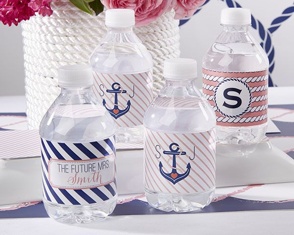Personalized Water Bottle Labels - Nautical Bridal Shower - Personalized Favors by Kate Aspen