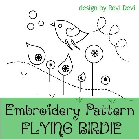 Flying Birdie 15010 - PDF Embroidery Pattern - with color suggestion and reversed pattern - Kawaii cute whimsical modern design