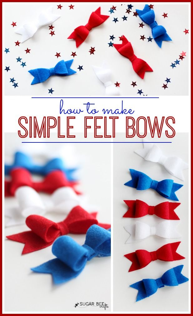 how to make Red White Blue Felt Hairbows (or anytime bows!) ~ Sugar Bee Crafts