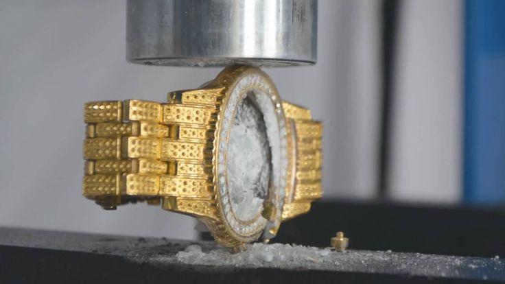 Золотые часы Ролекс за 20 000$ vs гидравлический пресс 200 тонн