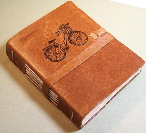 Bicycle Bicycle Leather Journal in by tiffanyewingdesigns on Etsy, $38.00