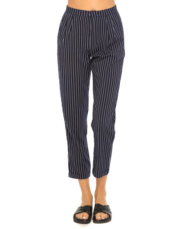 Motel Ethan High Waisted Trouser in Pinstripe Navy, TopShop, ASOS, House of Fraser, Nasty gal