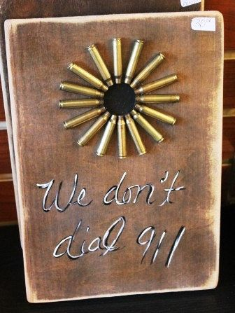 We don't dial 911 Bullet Art. $30.00, via Etsy.