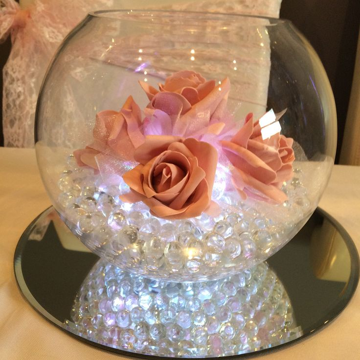 Pink illuminated fish bowl wedding centrepiece. Hire from affinity event decorators in South Wales