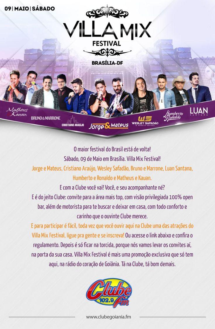 """<p class=""""p1""""><span class=""""s1"""">O maior festival do Brasil está de volta!</span></p> <p class=""""p1""""><span class=""""s1"""">Sábado, 09 de Maio em Brasília.</span></p> <p class=""""p1""""><span class=""""s1"""">Villa Mix Festival!</span></p> <p class=""""p1""""><span class=""""s1"""">Jorge e Mateus, Cristiano Araújo, Wesley Safadão, Bruno e Marrone, Luan Santana, Humberto e Ronaldo e Matheus e Kauan</span></p> <p class=""""p1""""><span class=""""s1"""">E com a Clube você vai!</span></p> <p class=""""p1""""><span class=""""s1"""">Você, e seu…"""