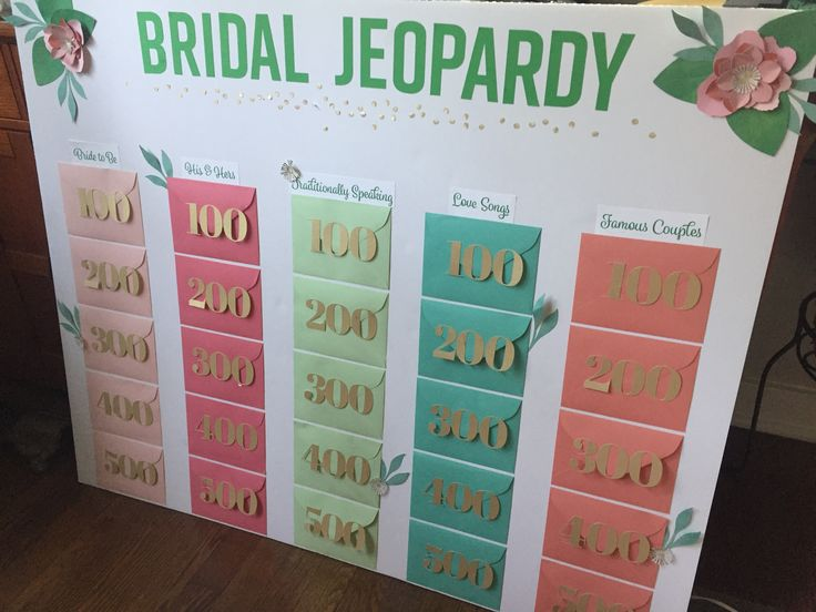 DIY Bridal Shower Jeopardy Game #cricut #bridaljeopardy #flowers
