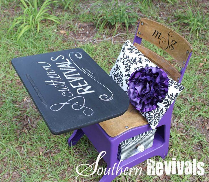 Via Southern Revivals~ old school desk revival. Chalk board desk top, paint, monogram...add a few accessories - Pretty re-do!
