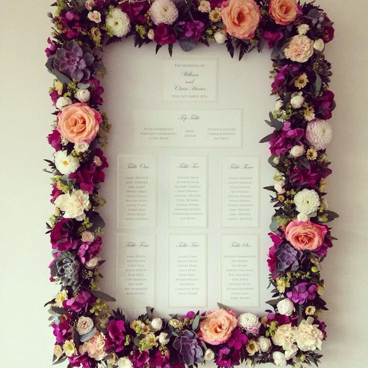 Table plan by Kathryn Deeley Wedding Stationery, flower frame by wild orchid www.wildorchidweddingflowers.co.uk succulents roses lisianthus hydrangea miss piggy roses