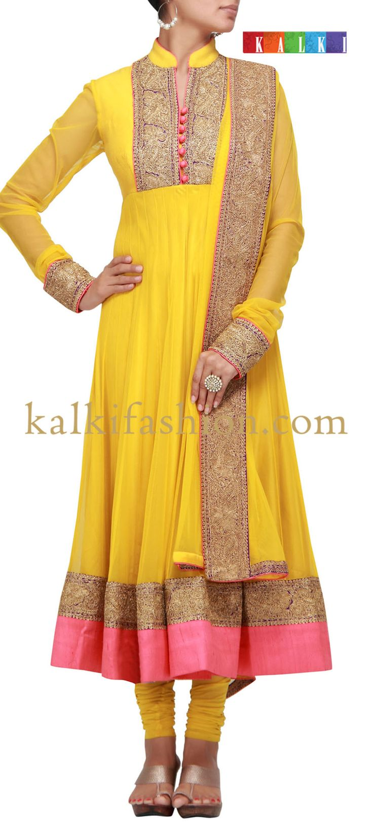 Buy it now  http://www.kalkifashion.com/mustard-anarkali-dress-with-dori-embroidery.html  Mustard anarkali dress with dori embroidery