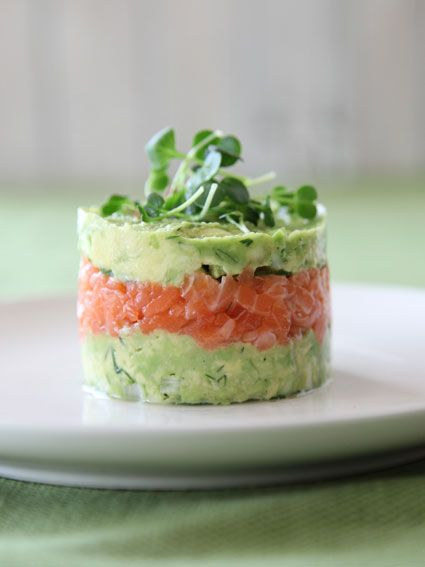 """tartare de saumon et avocat"". Salmon Tartare. This is easy to make with a can. Simply remove the top and bottom and use it as a mold."