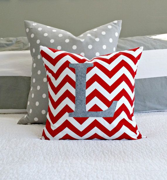 Popular Monogrammed Red Chevron Throw Pillow Cover - Nursery/Kid Sized