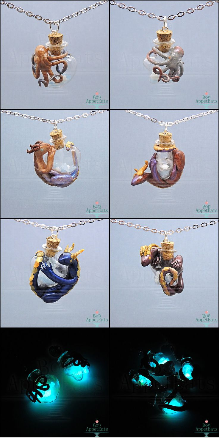 Octopus and Dragon Glow Bottle Necklaces  These will be available at MegaCon next week! I will be at booth #203. Once the show is finished, anything leftover will be listed on my website: http://bonappeteats.com/