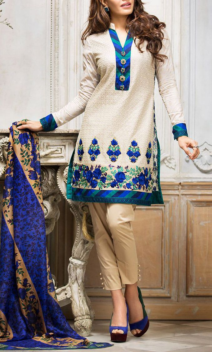 Buy Off-White Embroidered Cotton Lawn Salwar Kameez by Zainab Chottani Lawn 2015.