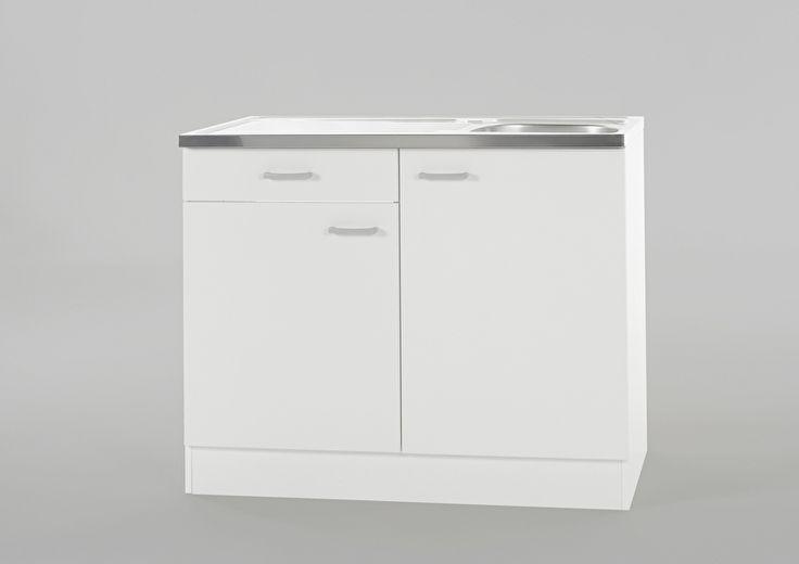 Keukenblok Klassiek 60 Wit met een la, RVS aanrecht 100cm x 60cm SPL106-6-OPTI-84