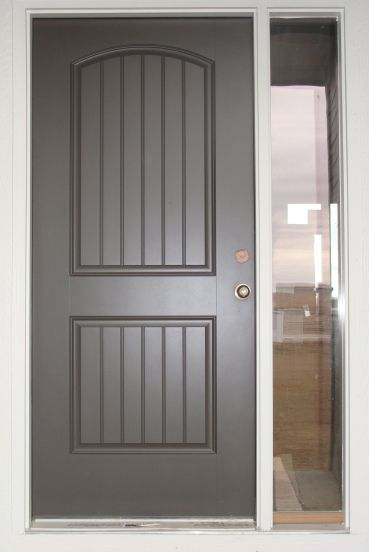 Sherwin Williams Urban Bronze on front door.