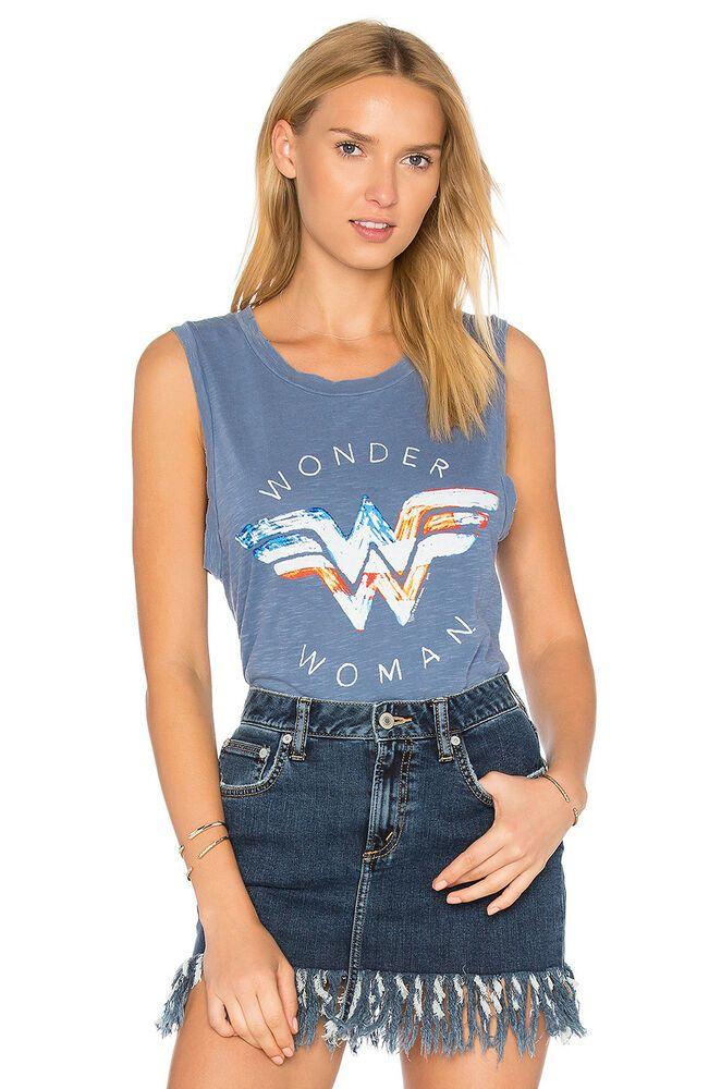 8ba4cfa3 JUNK FOOD Sleeveless Wonder Woman Vintage Tank Shirt Top Blue Multi M $42 # JunkFood #TankTop #Casual