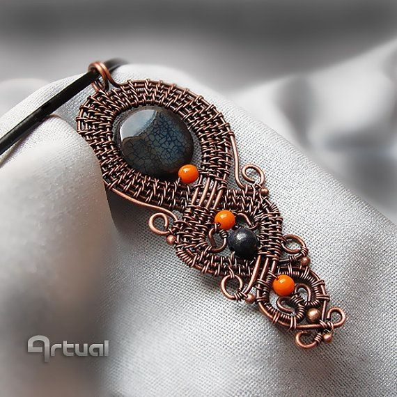 Wire wrapped copper pendant with cracked agate bead by Artual by aline