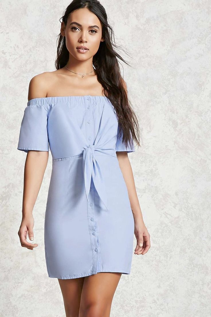 A chambray mini dress featuring an elasticized off-the-shoulder neckline, a knotted front, button down front, short sleeves, and a bodycon silhouette.