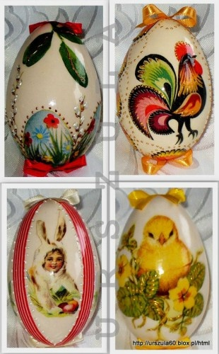 Easter eggs made by decoupage, pisanki