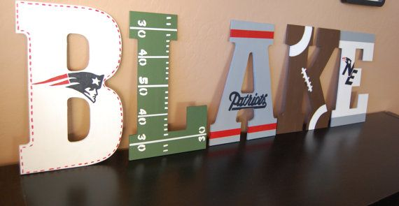 patriots themed wall letterslovebbycarrie on etsy, $15.00